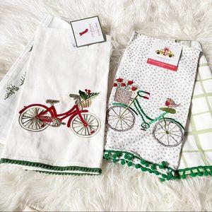 2 Sets of Christmas Dish Towels Christmas Bike NWT
